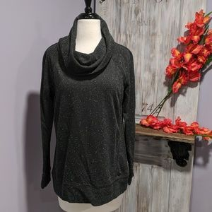 Lou & Grey charcoal speckled cowl-neck sweater